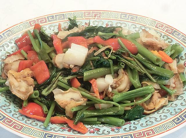 空芯菜とホタテ貝の炒め物