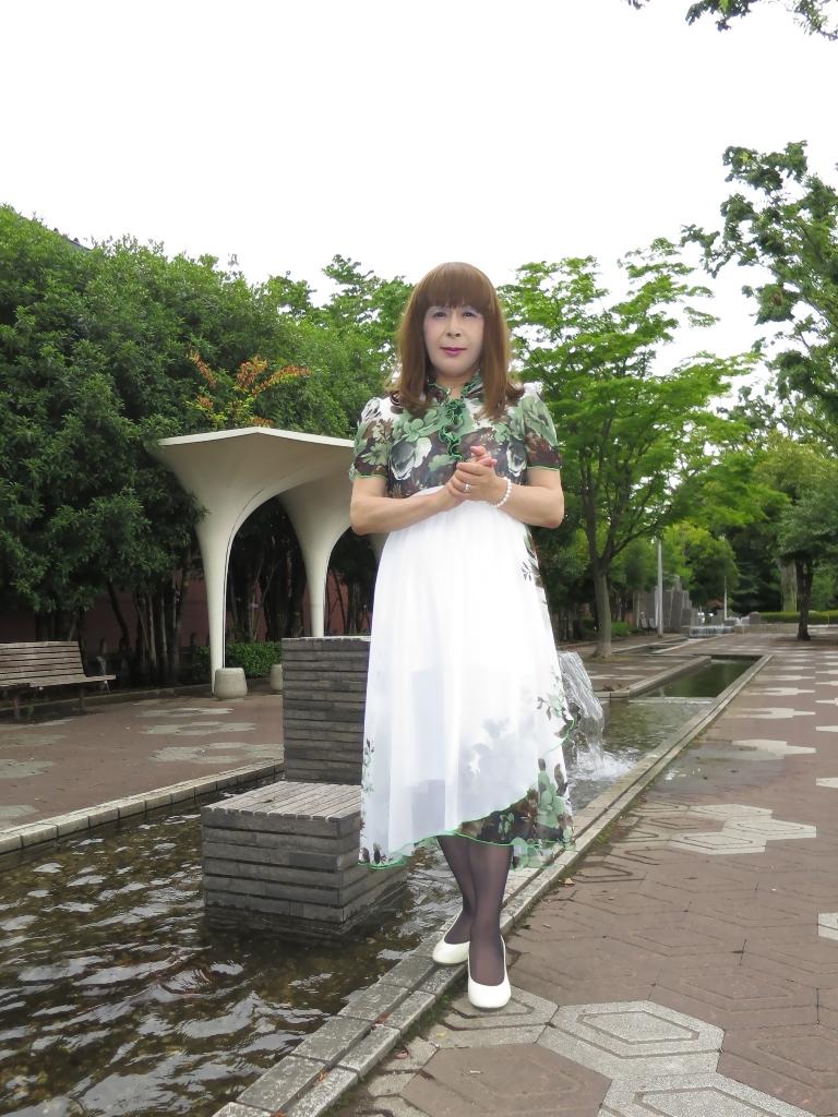 緑花柄シフォンドレスA(1)