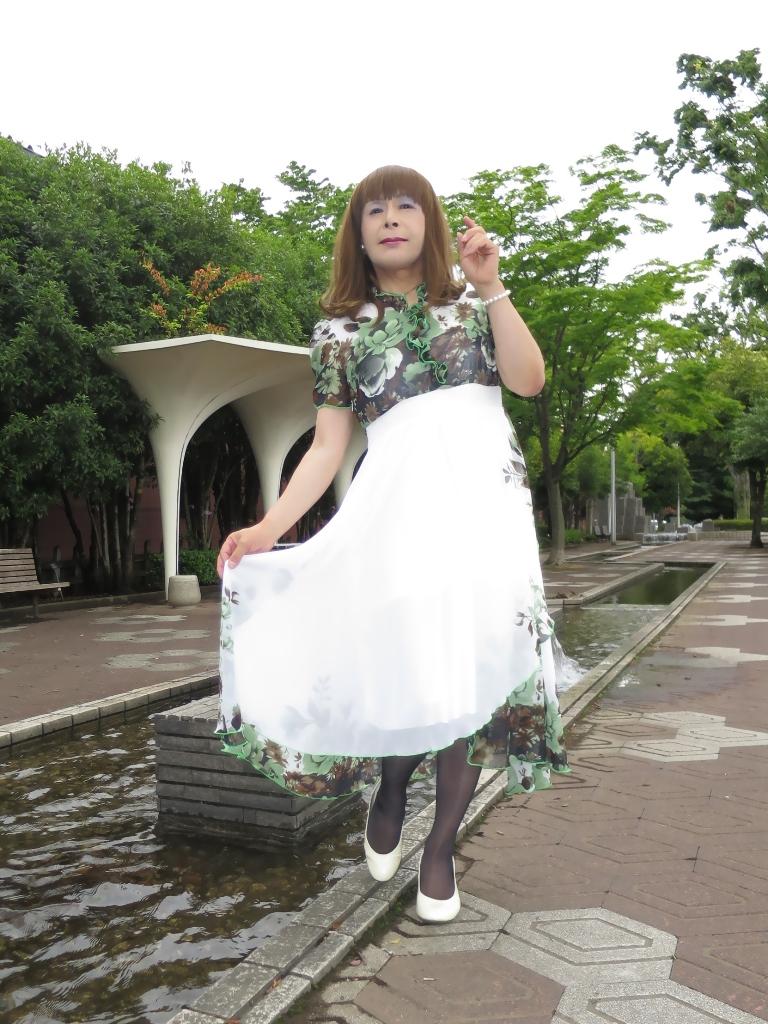 緑花柄シフォンドレスA(3)