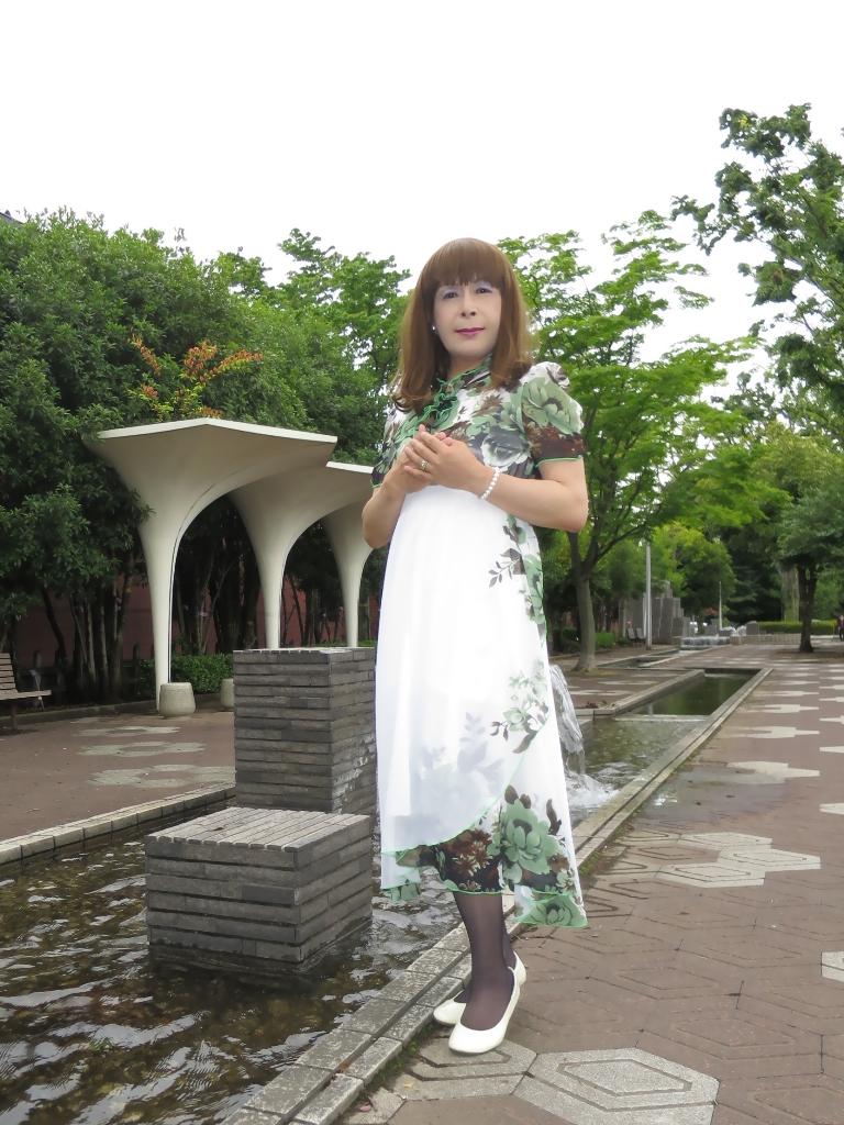 緑花柄シフォンドレスA(4)