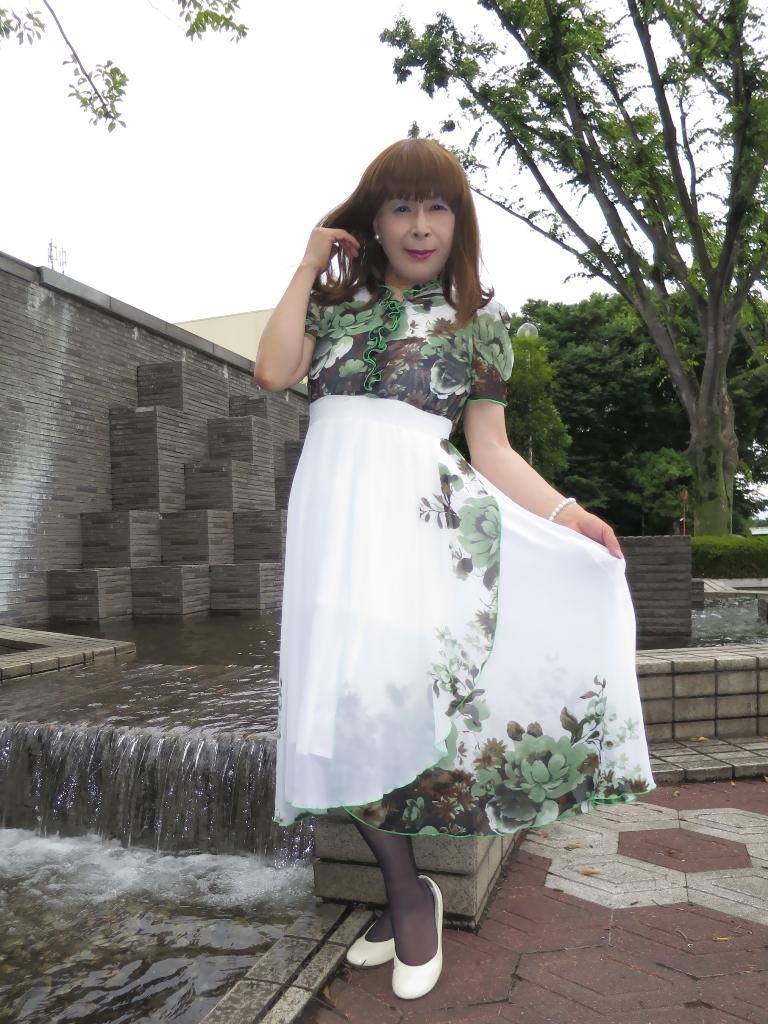 緑花柄シフォンドレスA(5)