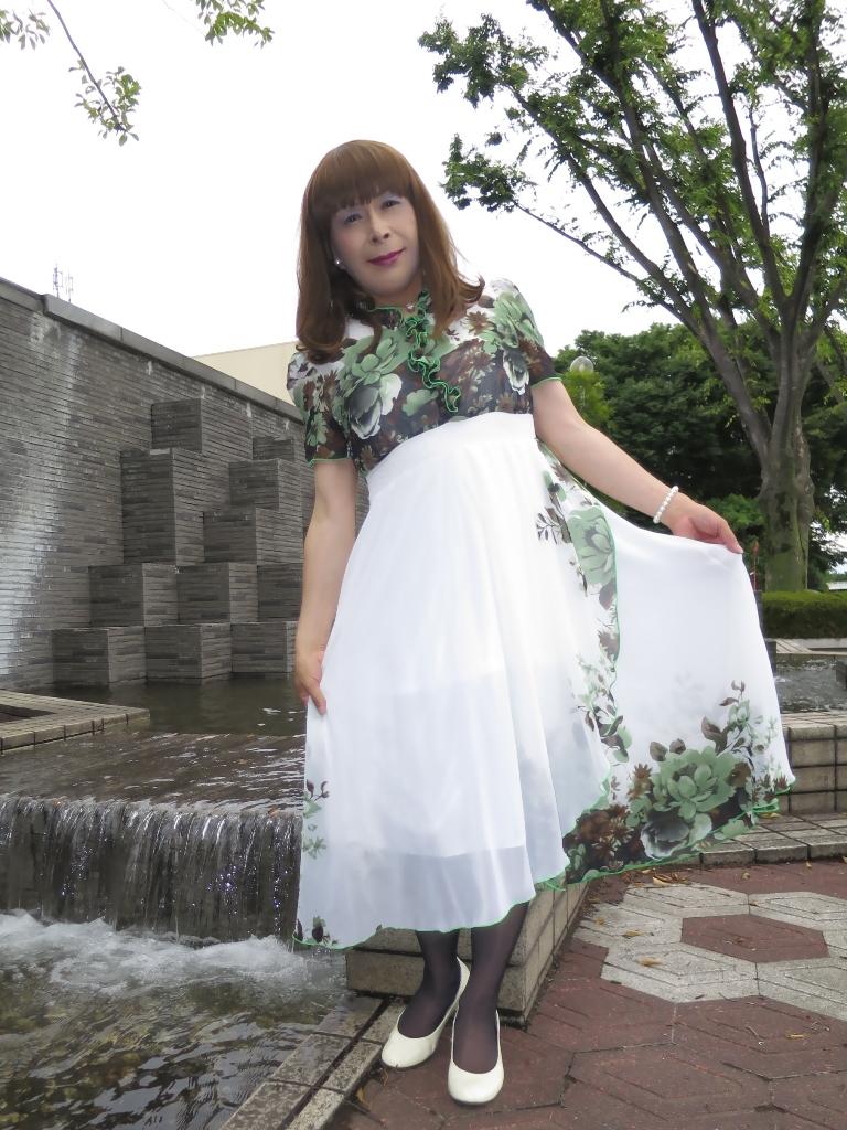 緑花柄シフォンドレスA(6)