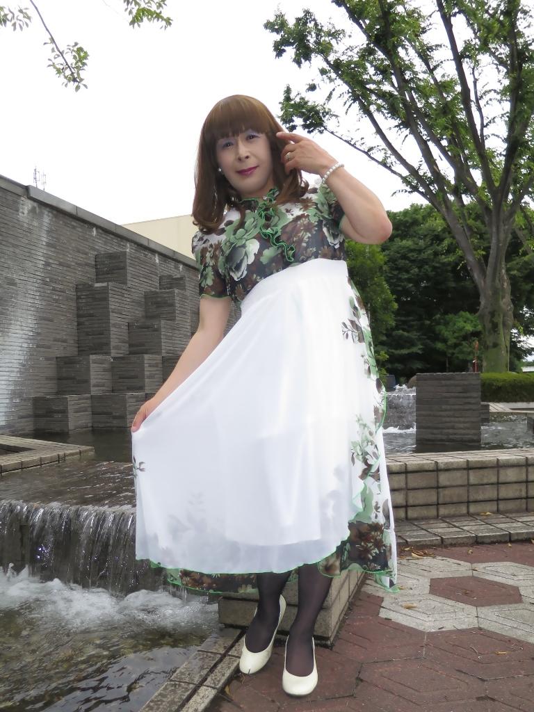 緑花柄シフォンドレスA(7)