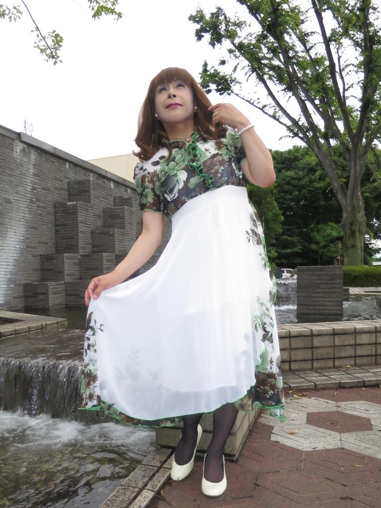 緑花柄シフォンドレスA(8)