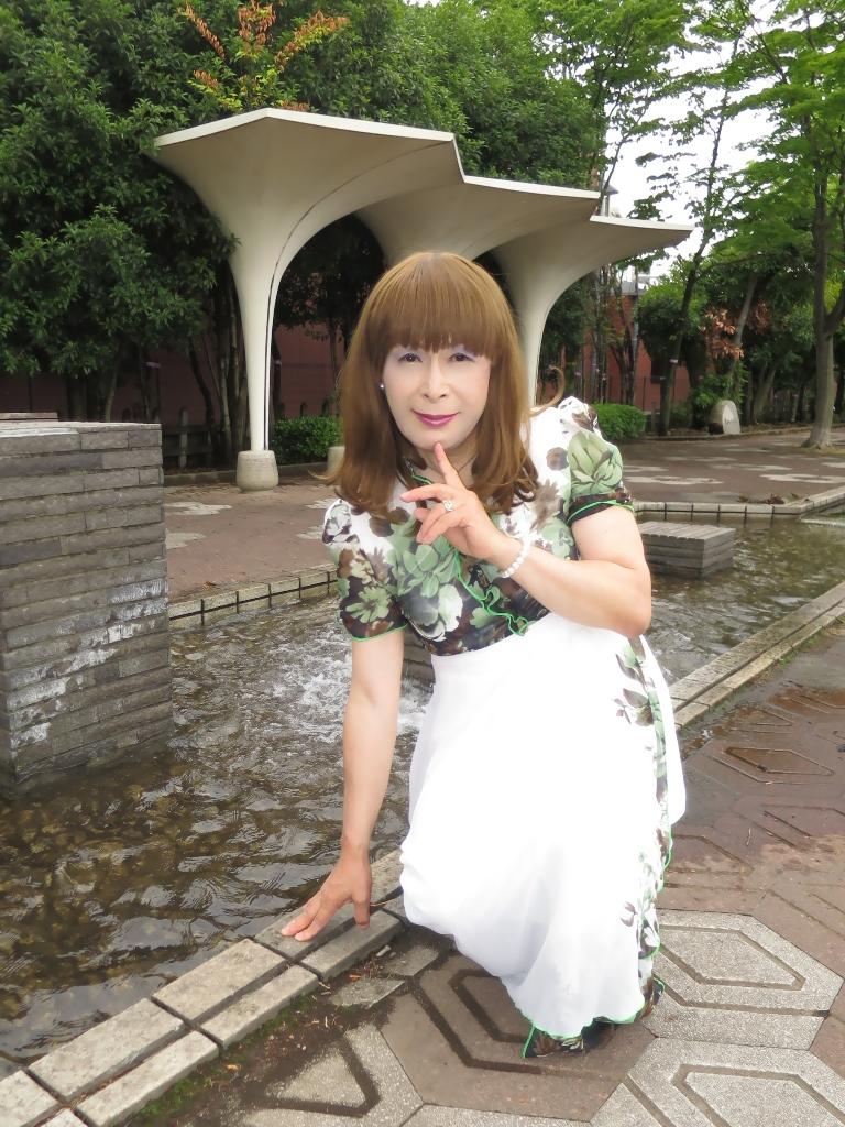 緑花柄シフォンドレスB(1)