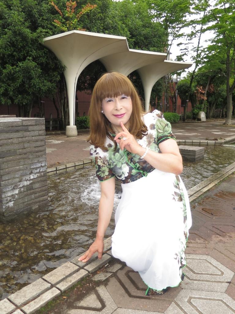 緑花柄シフォンドレスB(2)