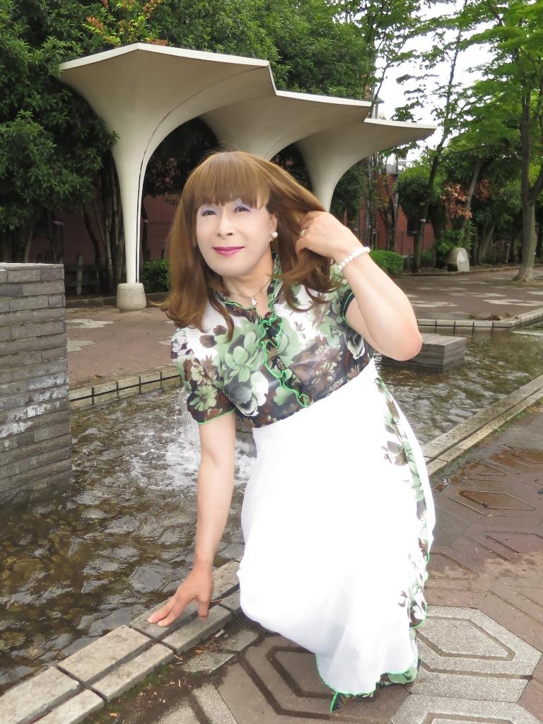 緑花柄シフォンドレスB(3)