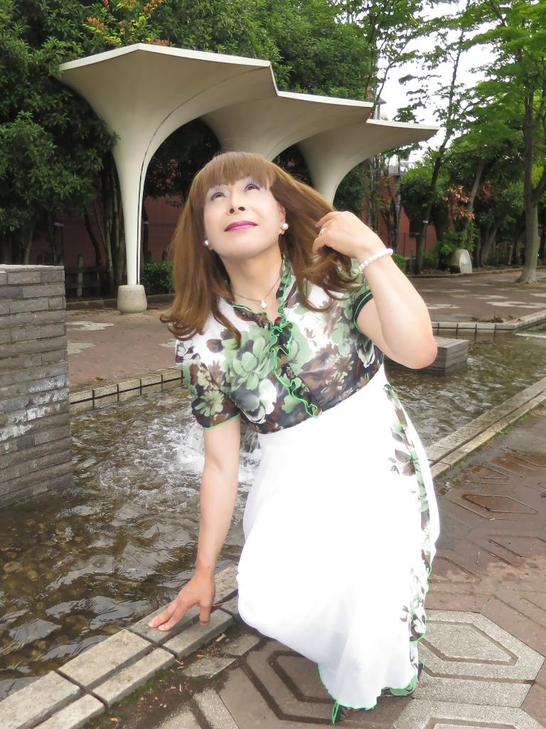 緑花柄シフォンドレスB(4)
