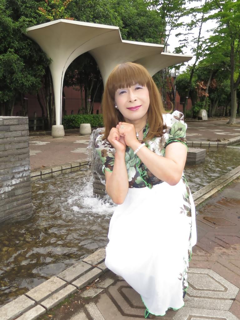 緑花柄シフォンドレスB(5)