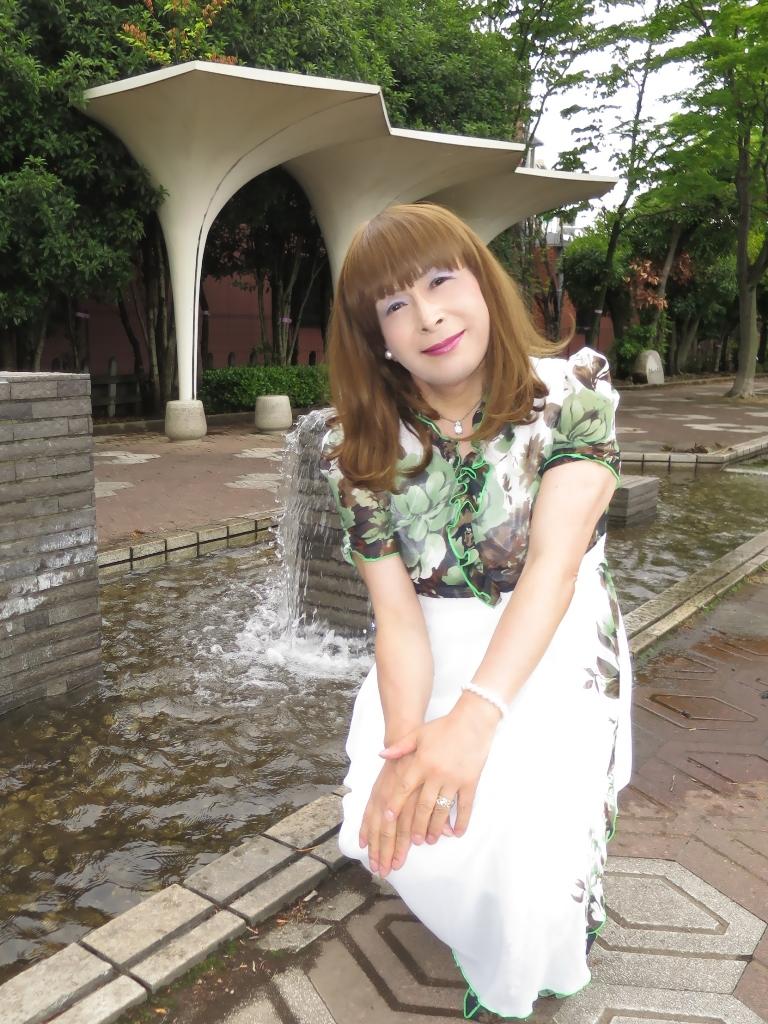 緑花柄シフォンドレスB(6)