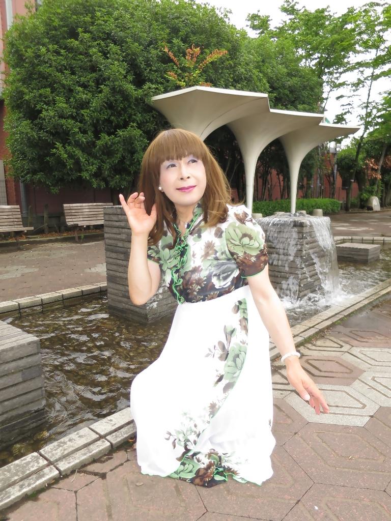 緑花柄シフォンドレスB(7)