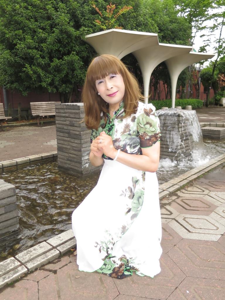 緑花柄シフォンドレスB(8)