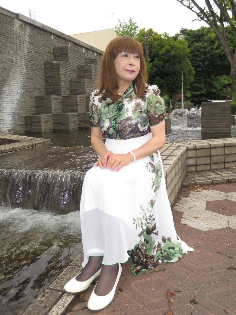 緑花柄シフォンドレスC(2)