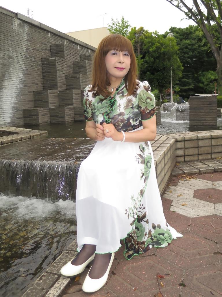 緑花柄シフォンドレスC(3)