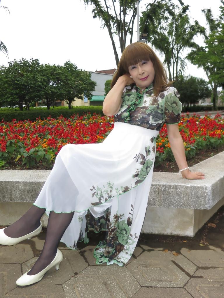 緑花柄シフォンドレスC(5)