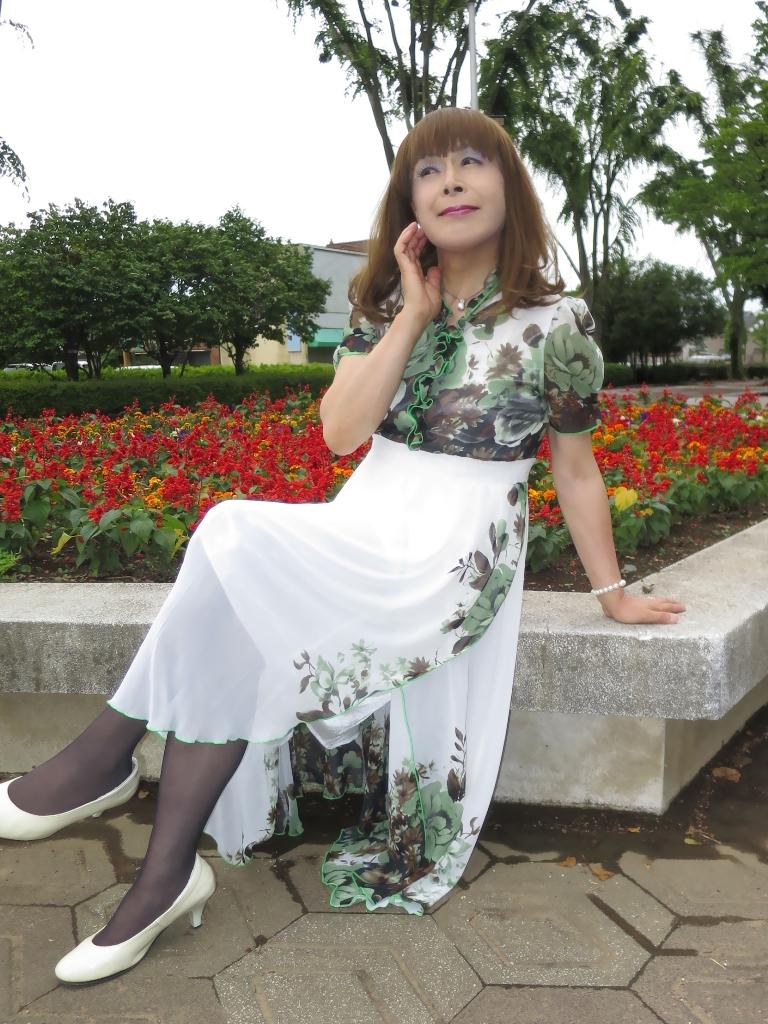 緑花柄シフォンドレスC(6)