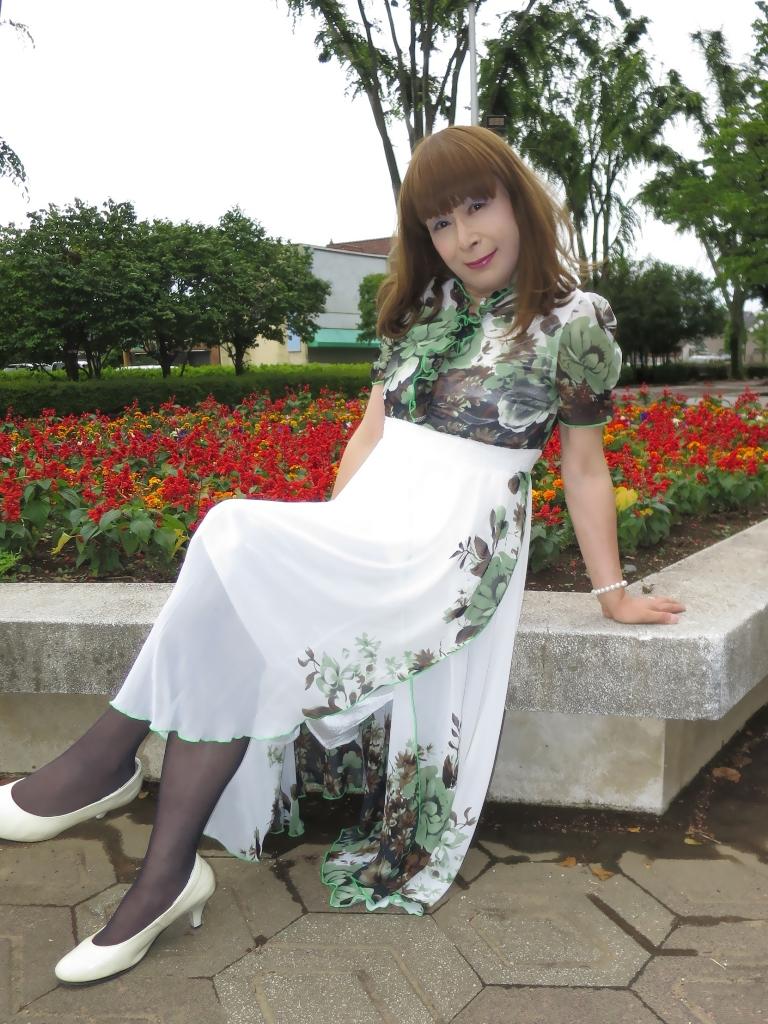 緑花柄シフォンドレスC(7)