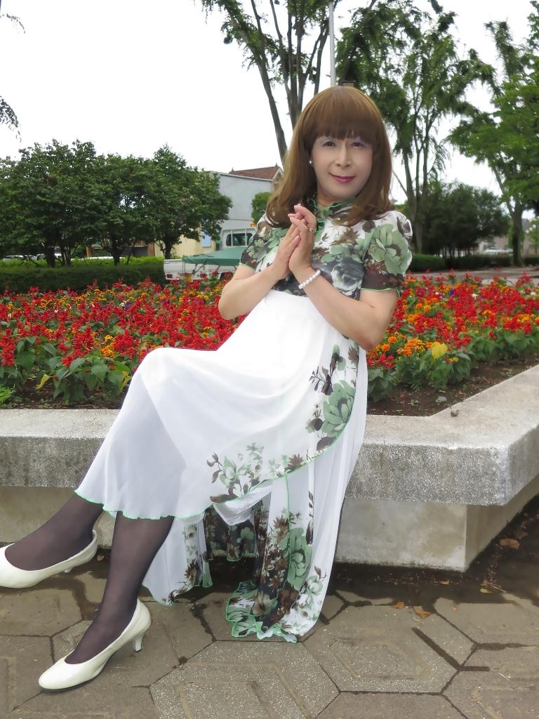 緑花柄シフォンドレスC(8)