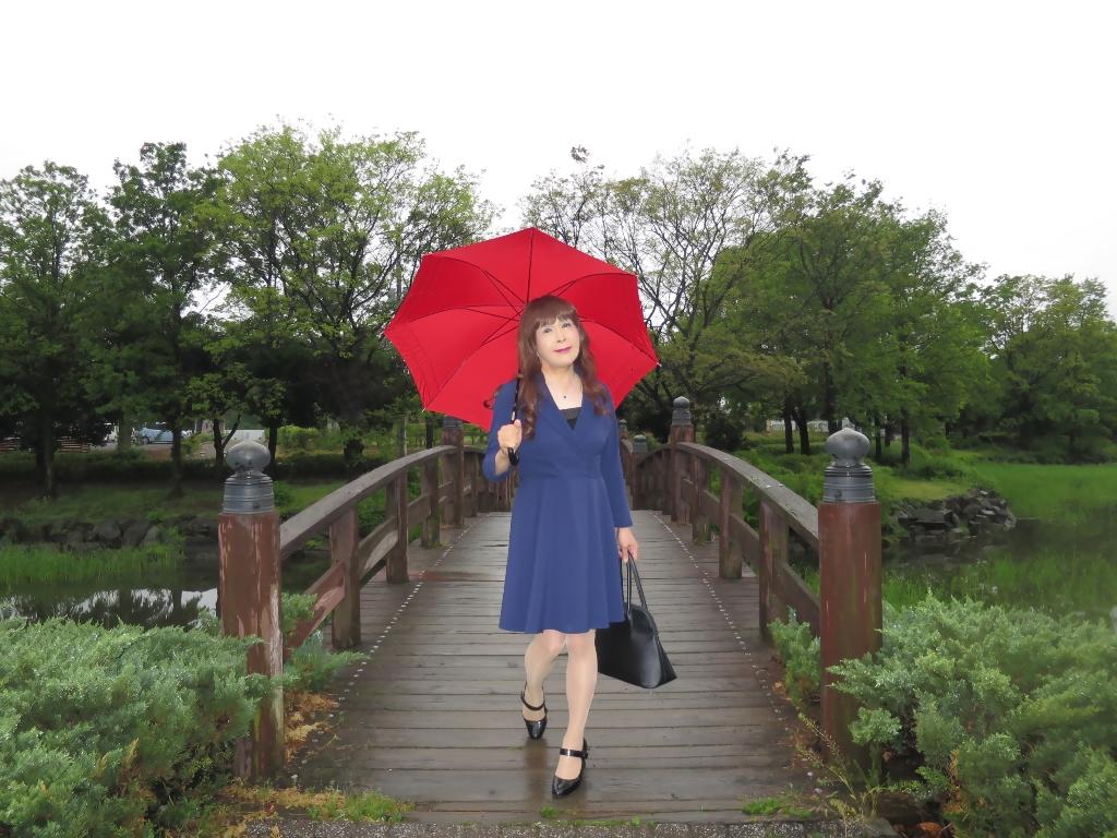 紺ワンピと赤い傘A(1)