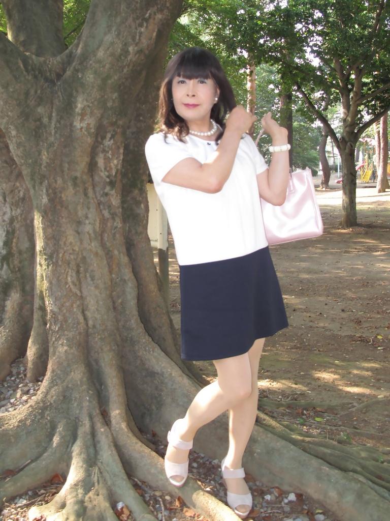 白と紺のチュニックワンピA(3)