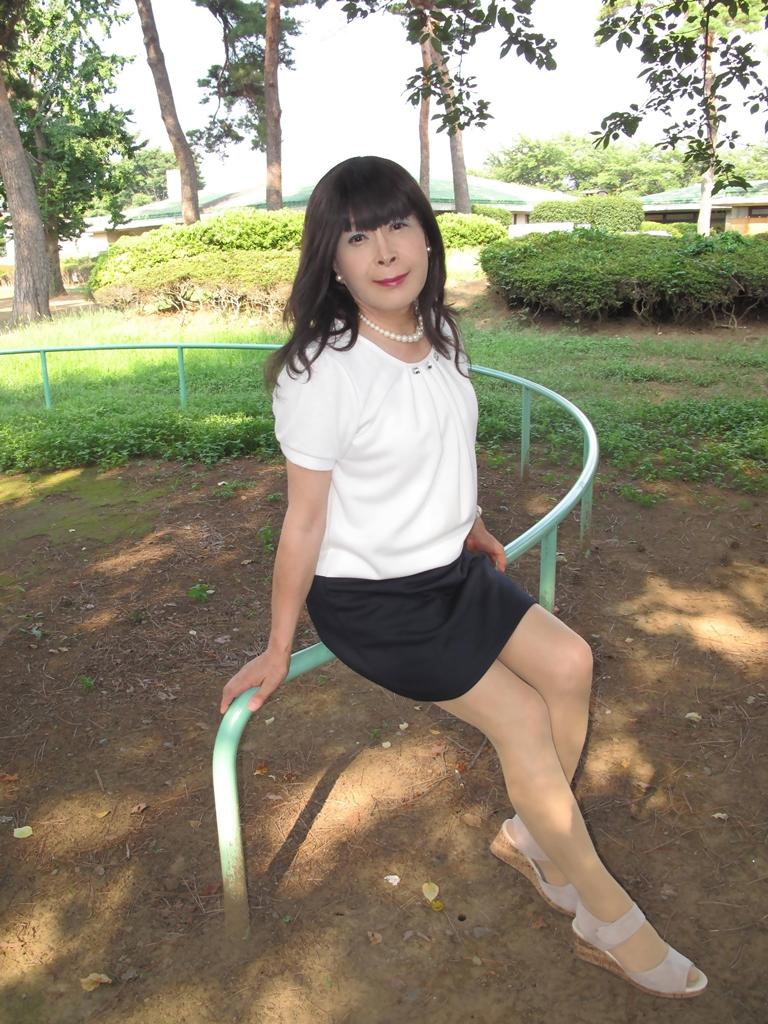 白と紺のチュニックワンピB(1)