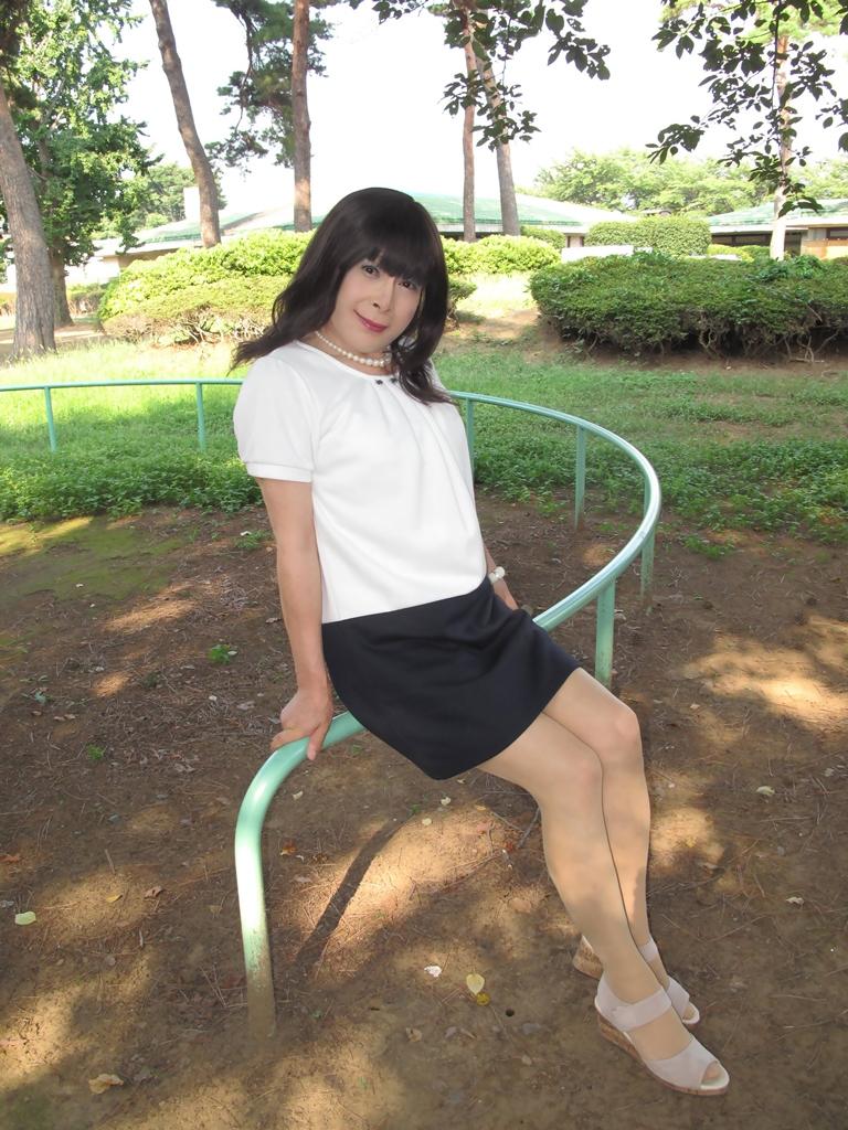 白と紺のチュニックワンピB(5)