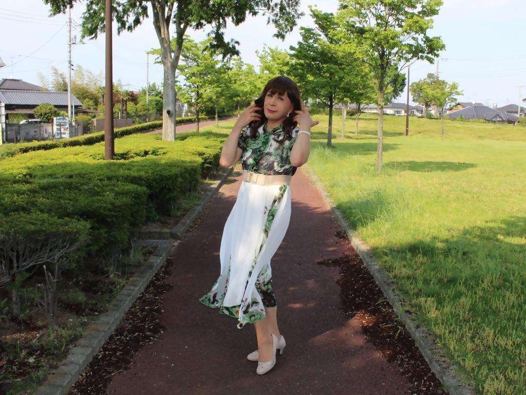 緑花柄シフォンロングワンピA(5)