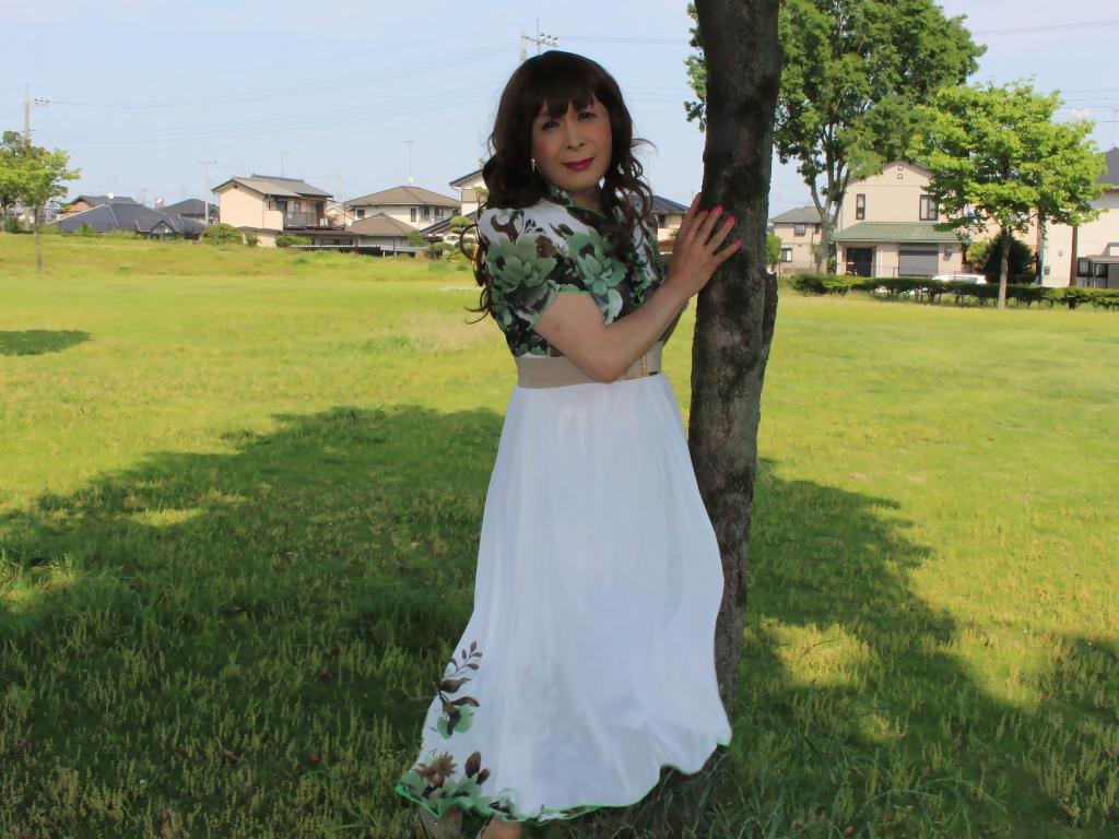 緑花柄シフォンロングワンピA(6)