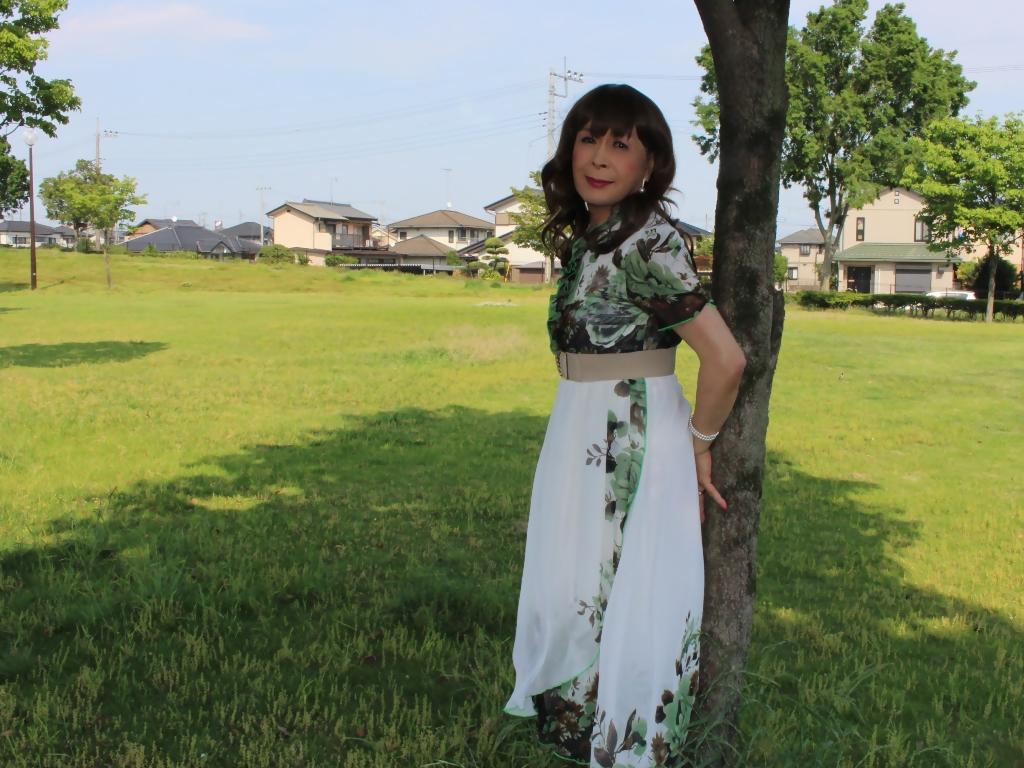 緑花柄シフォンロングワンピA(8)