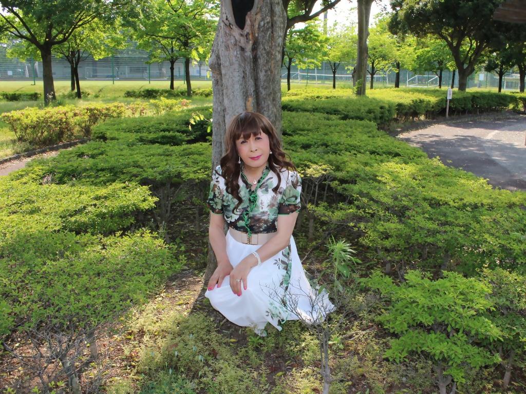緑花柄シフォンロングワンピB(1)