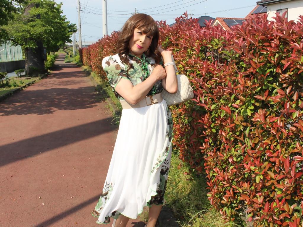 緑花柄シフォンロングワンピB(5)