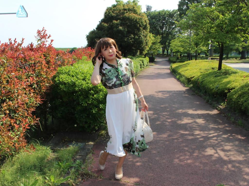 緑花柄シフォンロングワンピB(6)