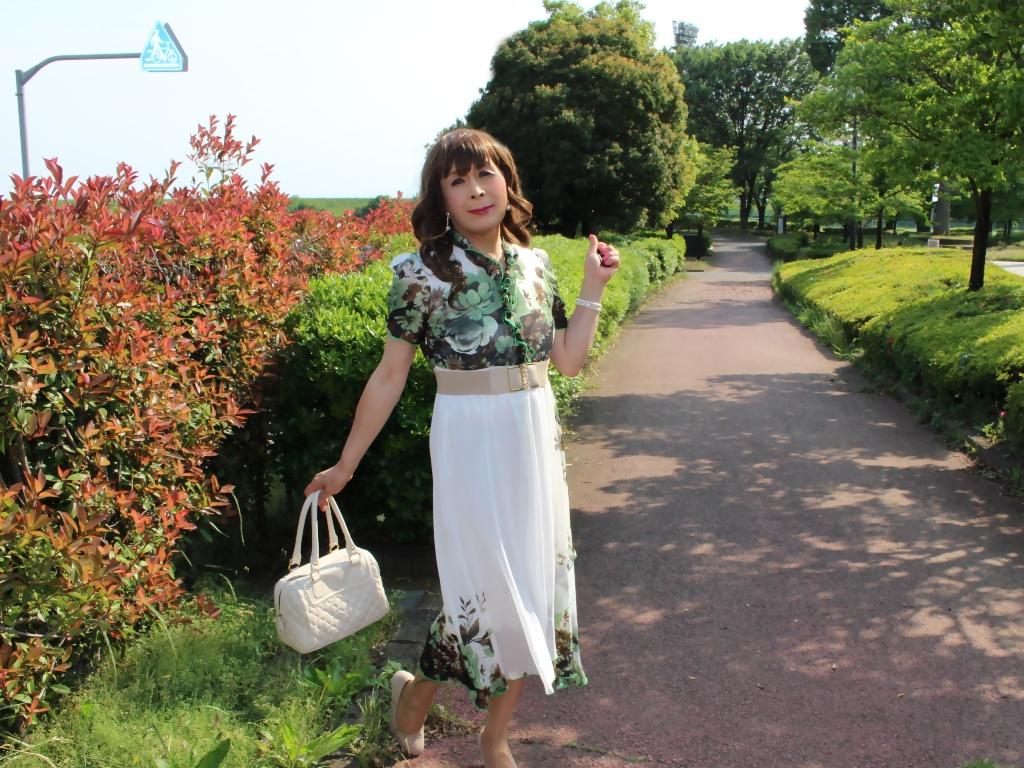 緑花柄シフォンロングワンピB(7)