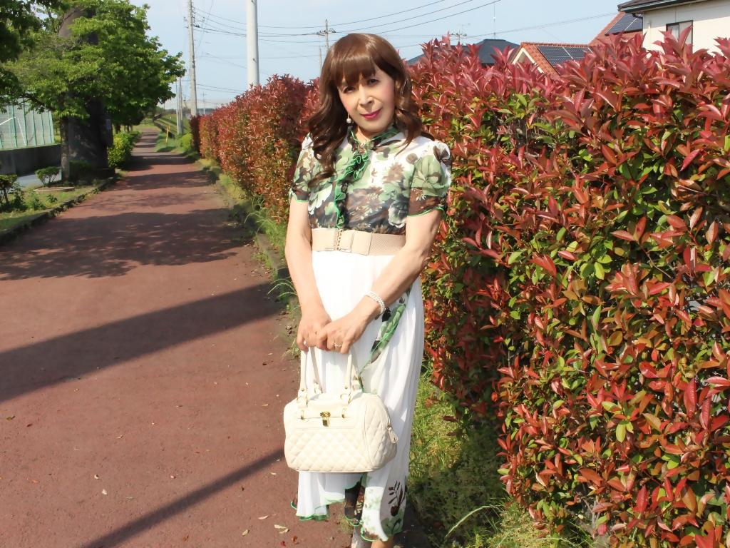 緑花柄シフォンロングワンピB(4)