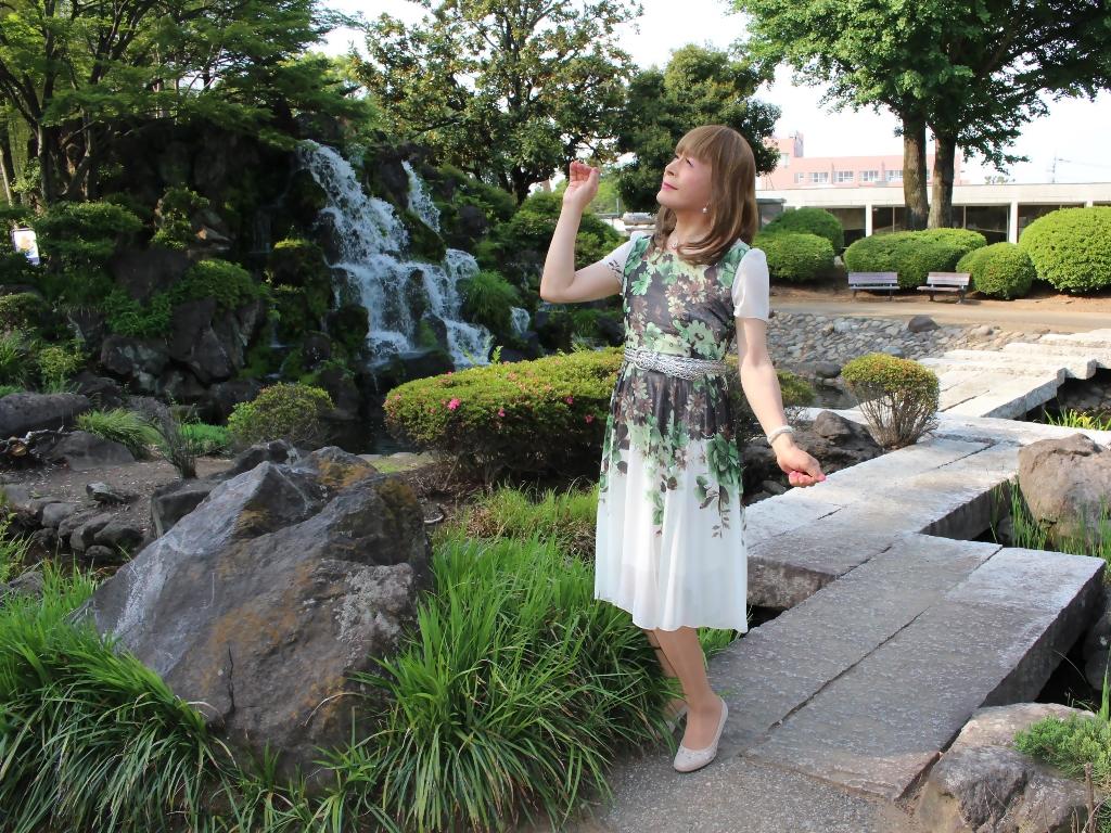 緑シフォンワンピC(4)