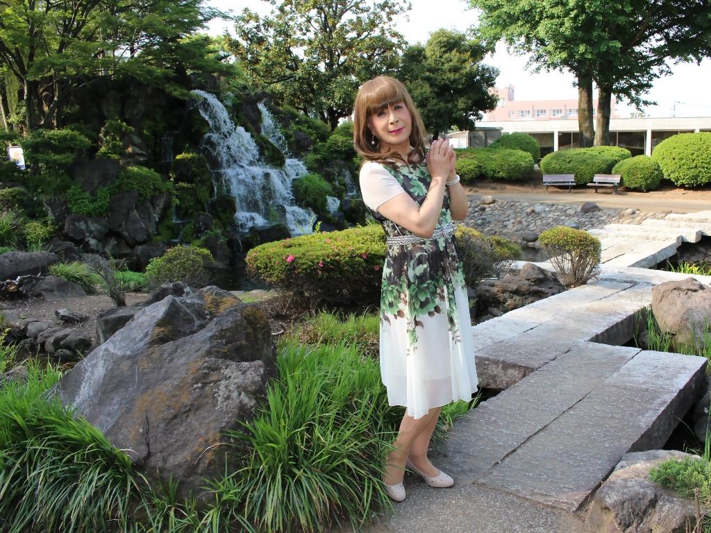 緑シフォンワンピC(5)