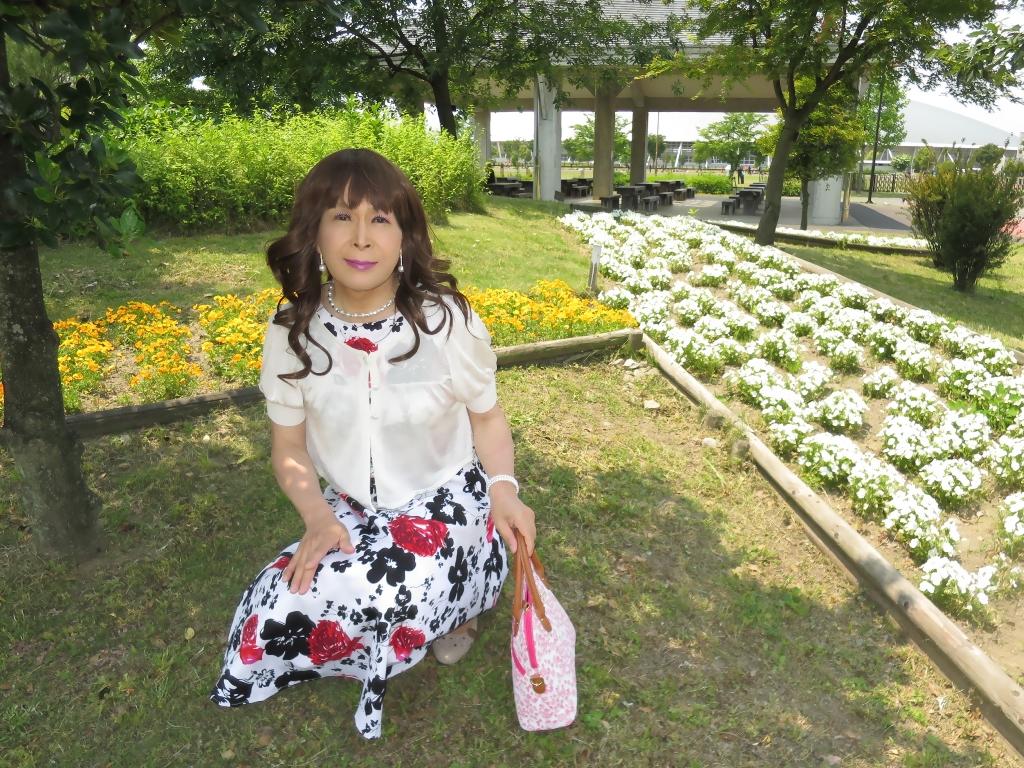 白地に花柄のワンピA(4)