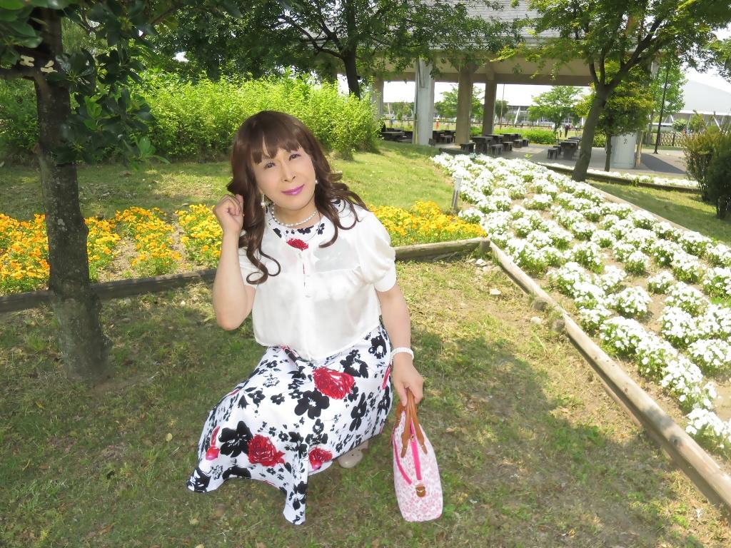 白地に花柄のワンピA(6)