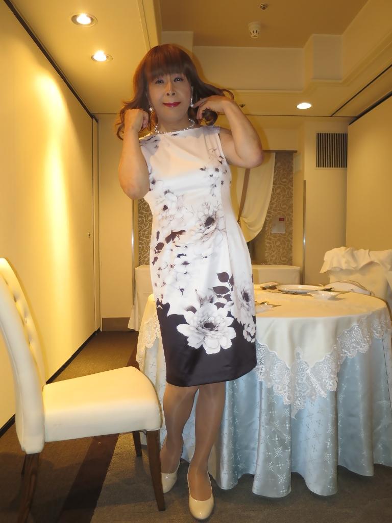 モノトーン花柄ワンピB(6)