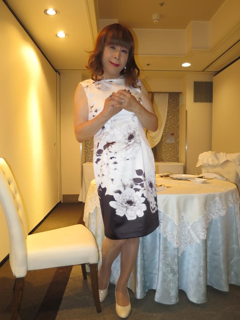 モノトーン花柄ワンピB(7)