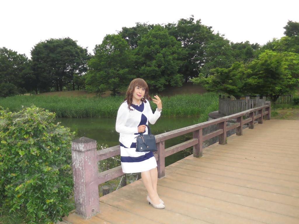 裾ボーダー切替ワンピA (2)