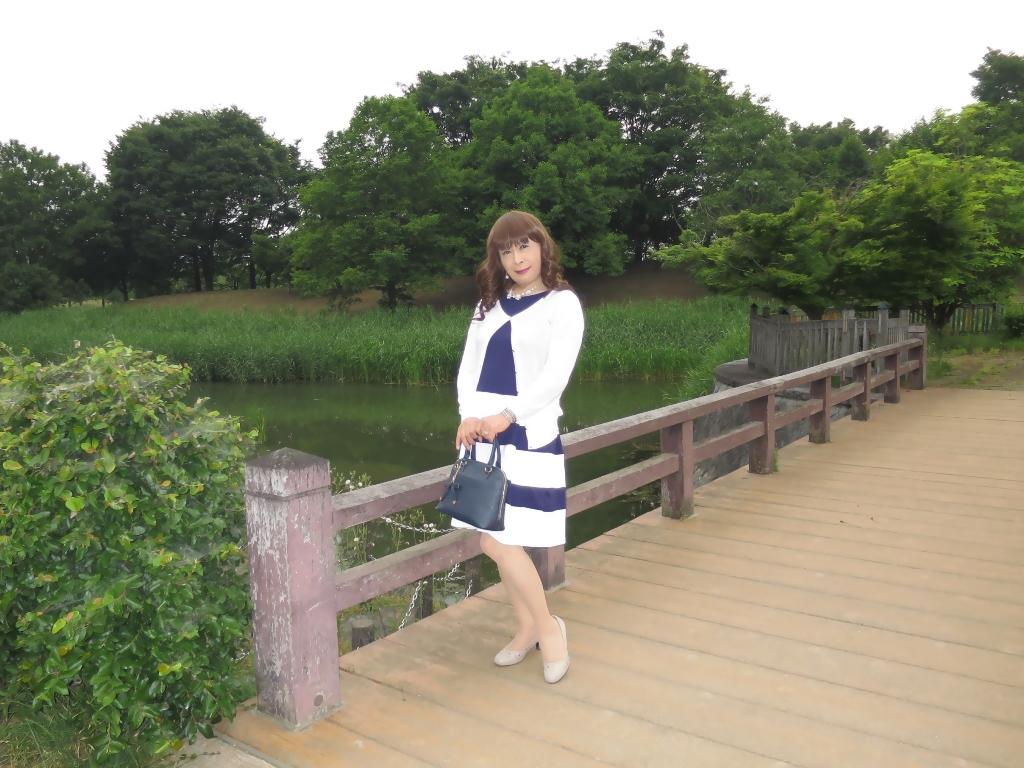 裾ボーダー切替ワンピA (4)