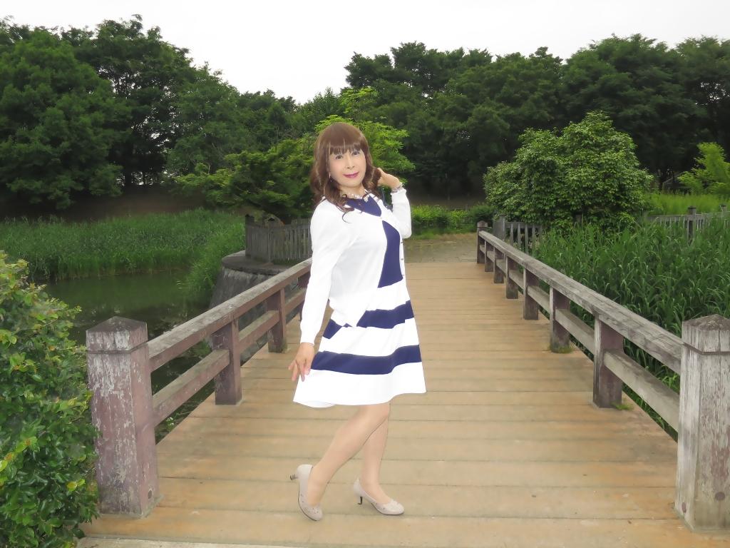 裾ボーダー切替ワンピA (6)