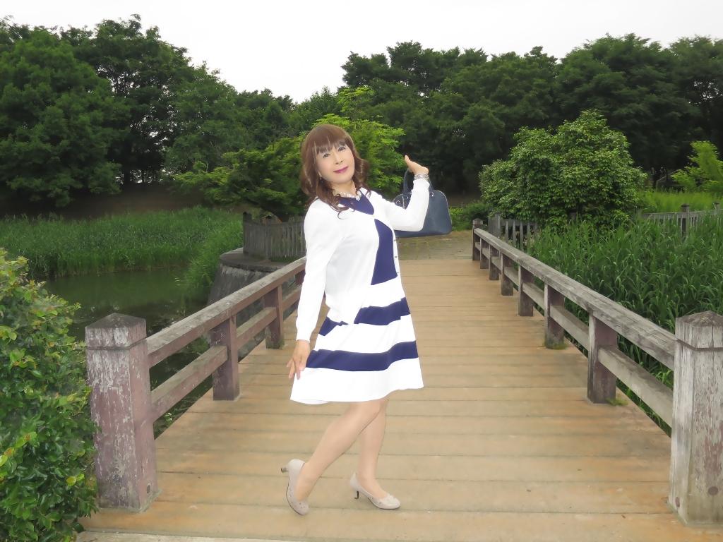 裾ボーダー切替ワンピA (7)