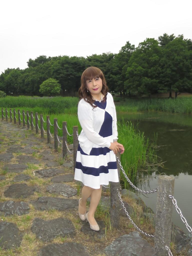 裾ボーダー切替ワンピB(1)