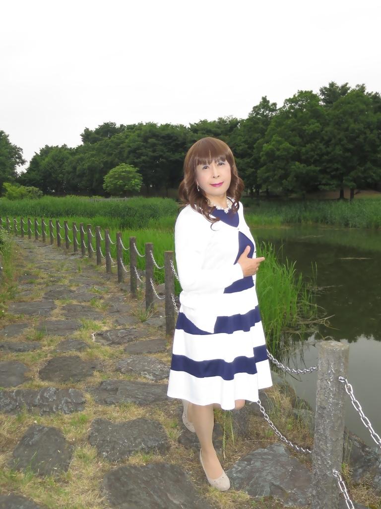 裾ボーダー切替ワンピB(2)