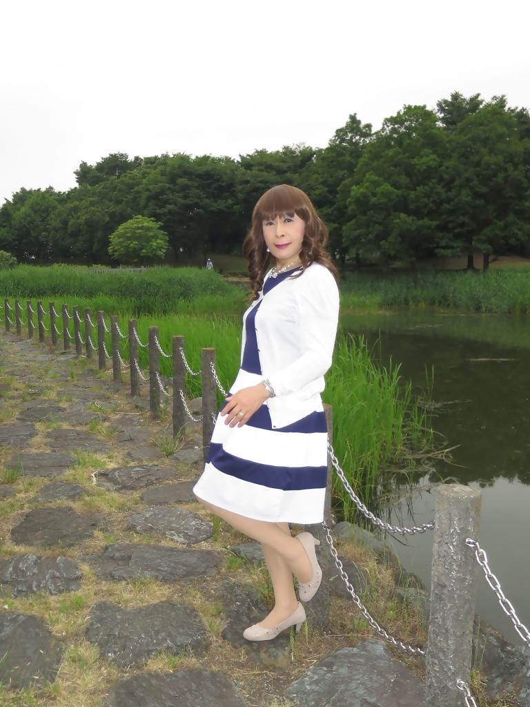 裾ボーダー切替ワンピB(3)
