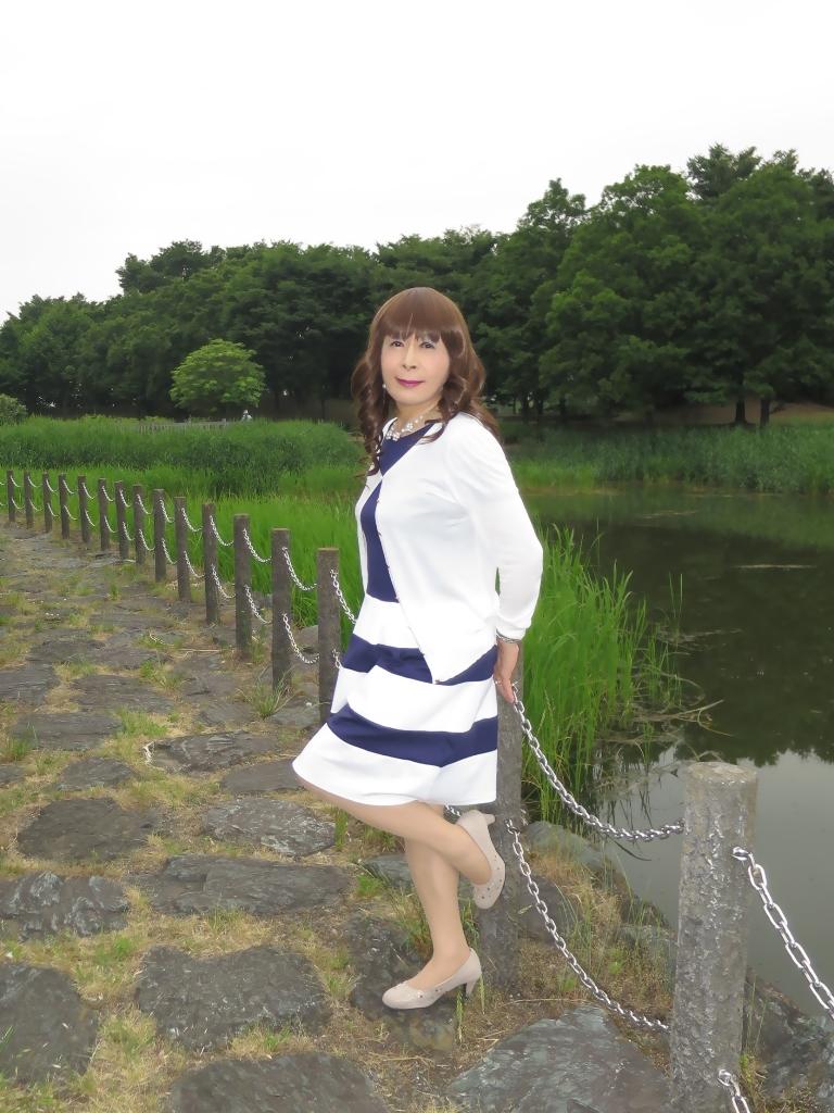 裾ボーダー切替ワンピB(4)