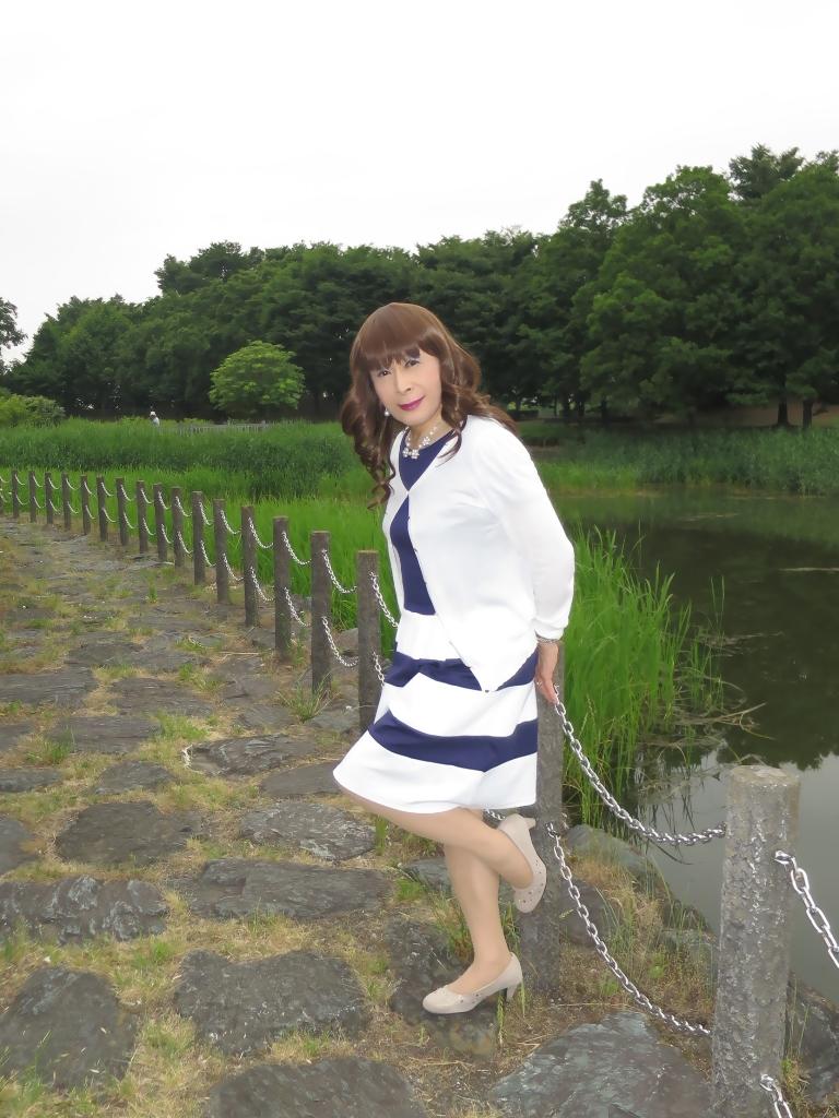 裾ボーダー切替ワンピB(5)