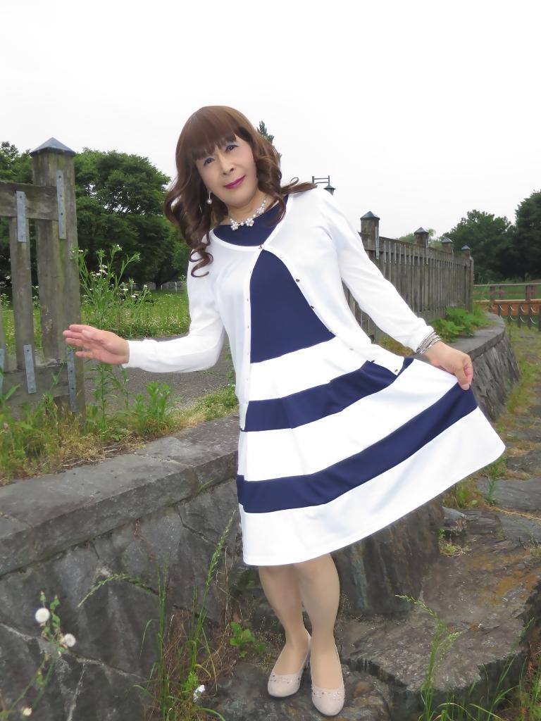 裾ボーダー切替ワンピB(6)